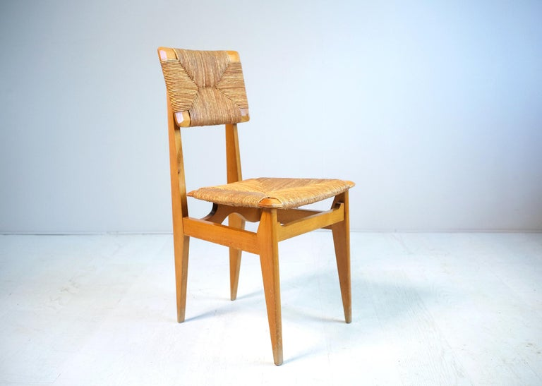 Set of 4 Chairs Model C Marcel Gascoin, France, 1950 In Good Condition For Sale In Catonvielle, FR