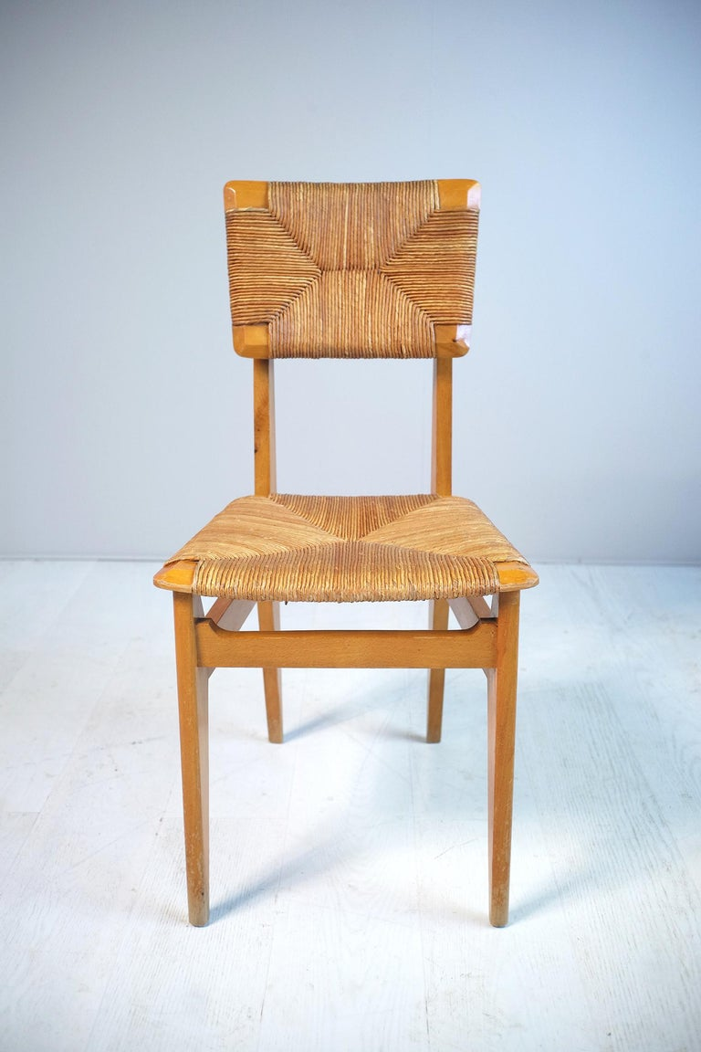 Straw Set of 4 Chairs Model C Marcel Gascoin, France, 1950 For Sale