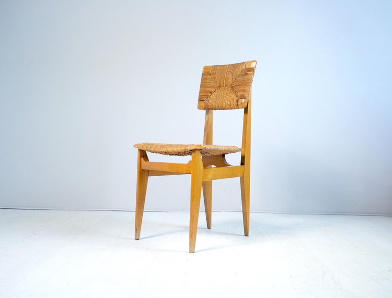Set of 4 Chairs Model C Marcel Gascoin, France, 1950 For Sale 1