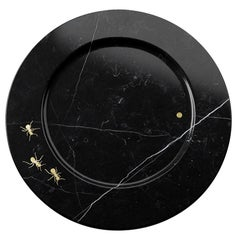 Set of 4 Charger Plates in Black Marquina with Brass Inlay by Pieruga Marble