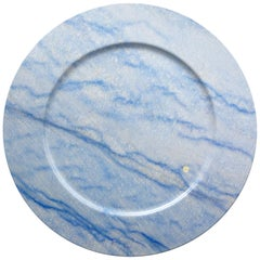 Set of 4 Charger Plates in Blue Azul Macaubas Design by Pieruga Marble Italy