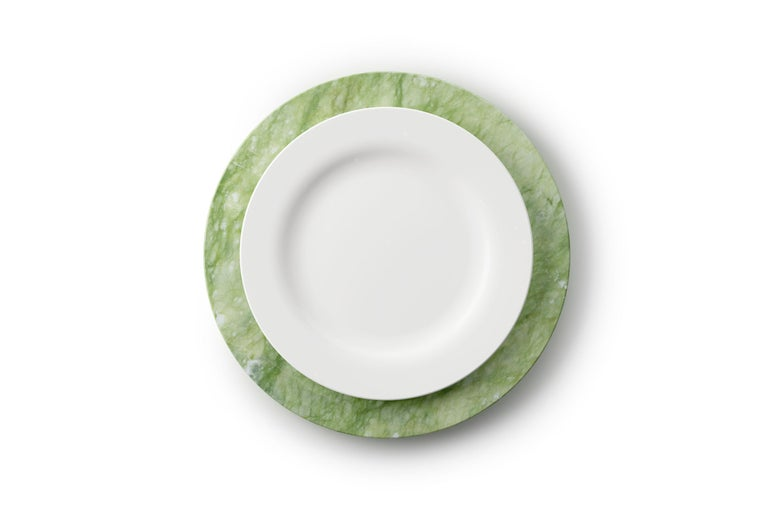 Italian Set of 4 Charger Plates in Green Ming Marble Design by Pieruga Marble, Italy For Sale
