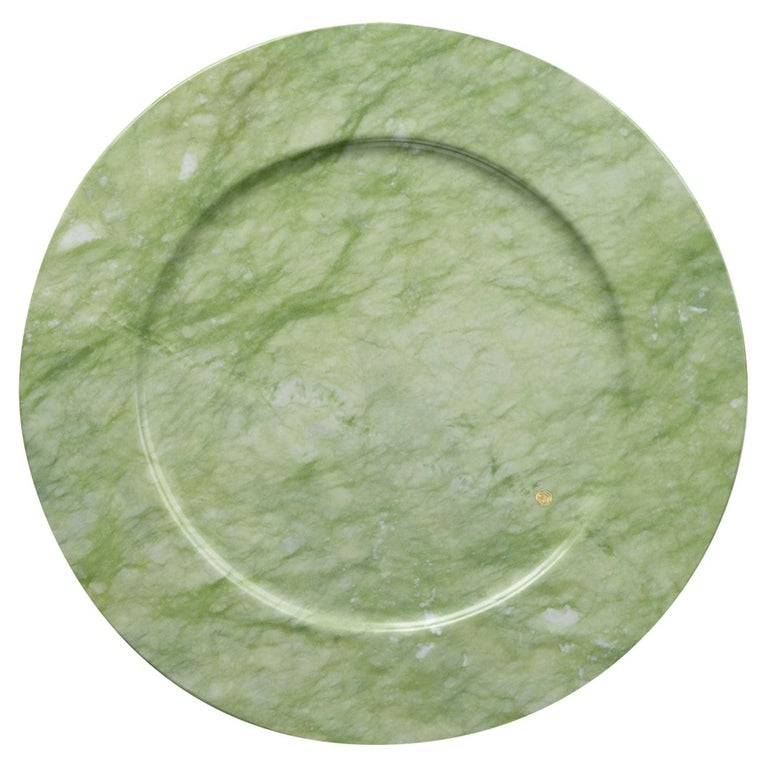 Set of 4 Charger Plates in Green Ming Marble Design by Pieruga Marble, Italy For Sale