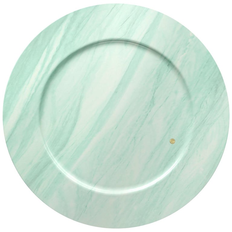 Set of 4 Charger Plates in Green Quartzite Design by Pieruga Marble, Italy For Sale