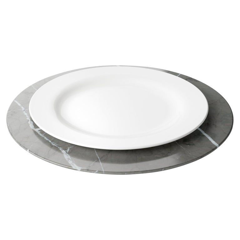 Set of 4 Charger Plates in Imperial Grey Marble Design Pieruga Marble, Italy For Sale
