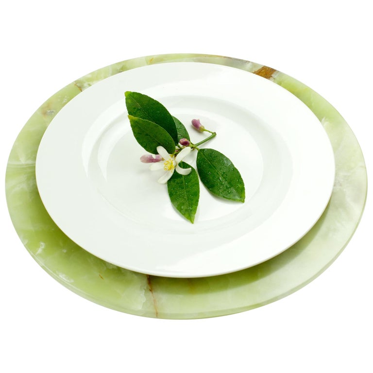 Set of 4 Charger Plates in Solid Green Onyx Design by Pieruga Marble, Italy For Sale