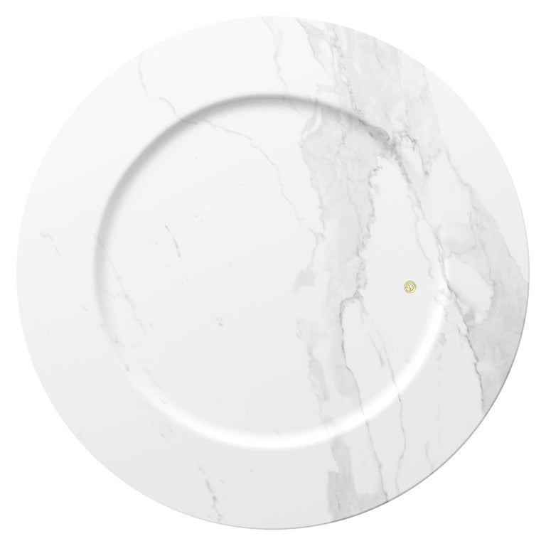 Set of 4 Charger Plates in White Statuary Marble Design by Pieruga Marble For Sale