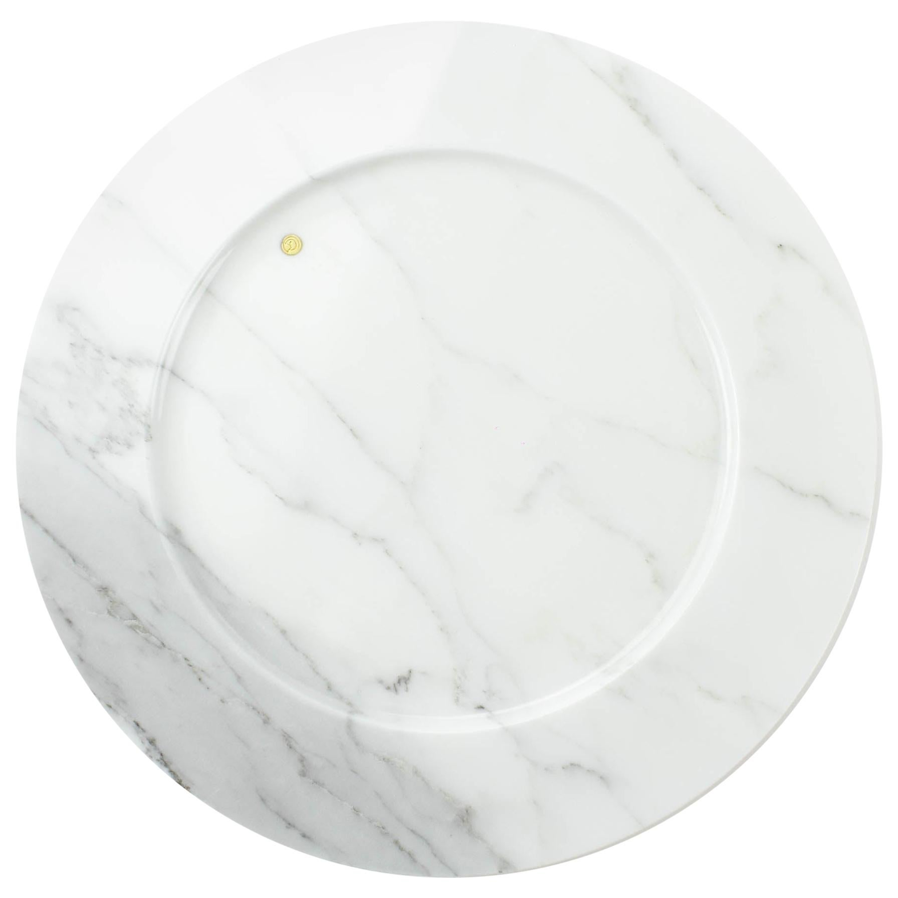 Set of 4 Charger Plates in White Statuary Marble Design by Pieruga Marble