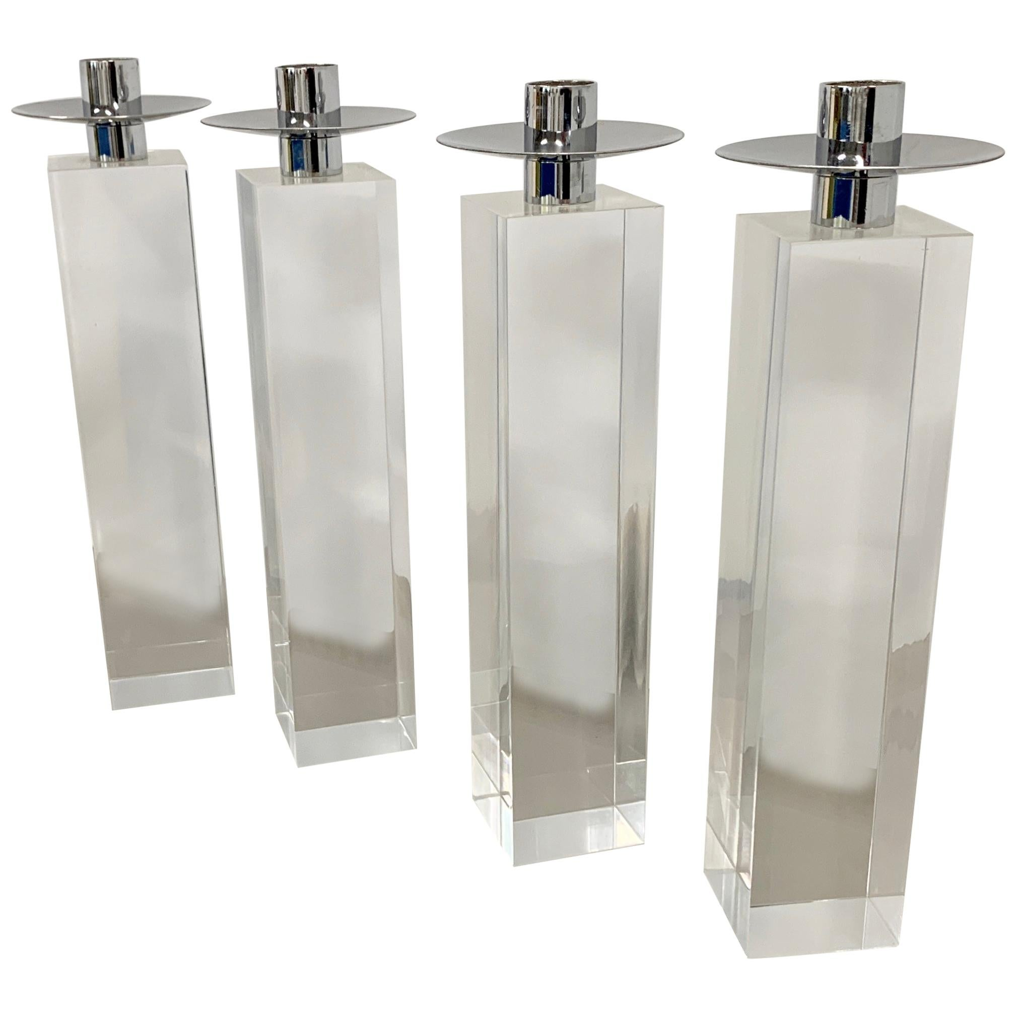 Set of 4 Charles Hollis Jones Lucite Nickel Candleholders