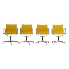 Set of 4 Charles & Ray Eames Vintage Aluminium Office Chairs 'EA108'