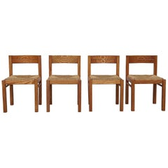 Set of 4 Charlotte Perriand Inspired Pine and Rush Dining Chairs