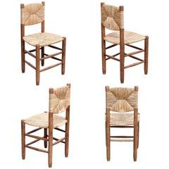 Set of 4 Charlotte Perriand Mid-Century Modern, Oak Ratta Model 19 Bauche Chairs