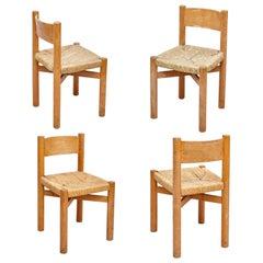 Set of 4 Charlotte Perriand Mid-Century Modern Wood Rattan Meribel French Chairs