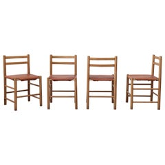 Set of 4 Charlotte Perriand Style Pine and Leather Dining Chairs