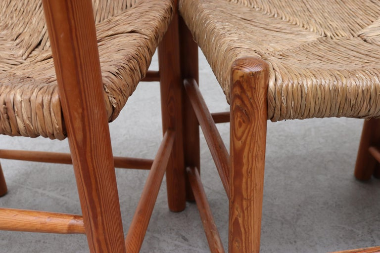 Set of 4 Charlotte Perriand Style Pine and Rush Dining Chairs 3