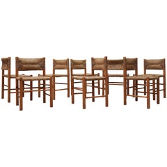Set of 4 Charlotte Perriand Style Rush and Pine Chairs