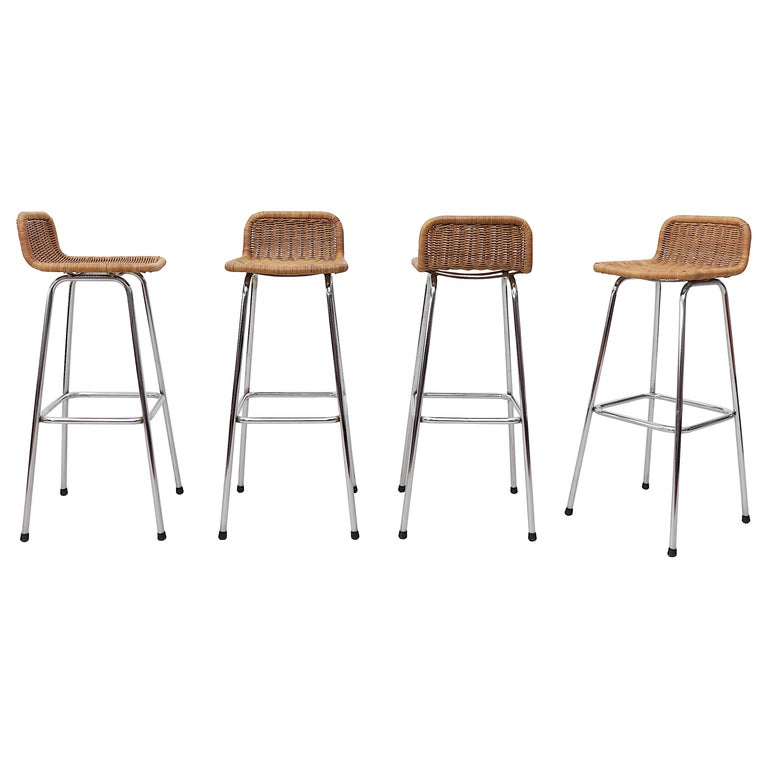 Tremendous Set Of 4 Charlotte Perriand Style Wicker Bar Stools Caraccident5 Cool Chair Designs And Ideas Caraccident5Info