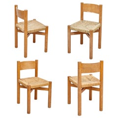 Set of 4 Charlotte Perriand Mid-Century Modern Wood Rattan Meribel French Chairs