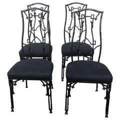 Set of 4 Chic Iron Chinoiserie Style Patio Side Chairs