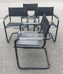 Set of 4 Chic Italian Mid-Century Modern Black Leather and Metal Armchairs