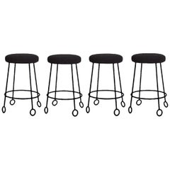 Set of 4 Chic Wrought Iron and Boucle Counter Stools