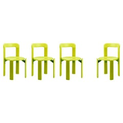 Set of 4 Children Chairs in Wood, Mid-Century Modern, Design 1971, in Green