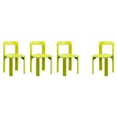 Set of 4 Children Chairs in Wood, Mid-Century Modern, Design 1971, in Green