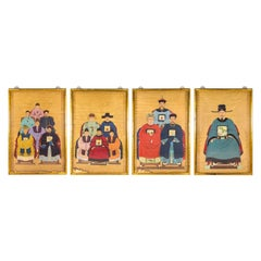 Set of 4 Chinese Ancestral Portraits, 19th Century, China