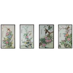 Set of 4 Chinese PRoC Bird and Flower Porcelain Plaques 1970s or 1980s