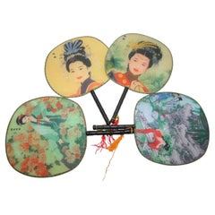 Set of 4 Chinese Silk Round Paddle Hand Fans with Geishas Woman Painting