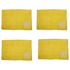 Set of 4 Chinoiserie Yellow Hemp Placemats with Double Happiness, Philippines