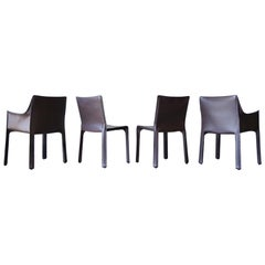 Set of 4 Chocolate Brown Mario Bellini Leather Cab Chairs