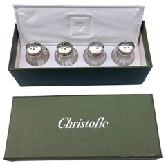 Set of 4 Christofle Individual Salt Shakers with Sterlings Lids in Original Box