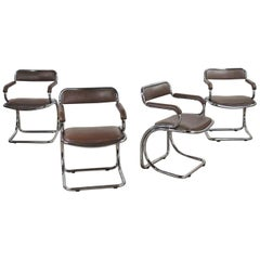 Set of 4 Chrome Cantilever Armed Chairs Brown Faux Leather Style Gastone Rinaldi