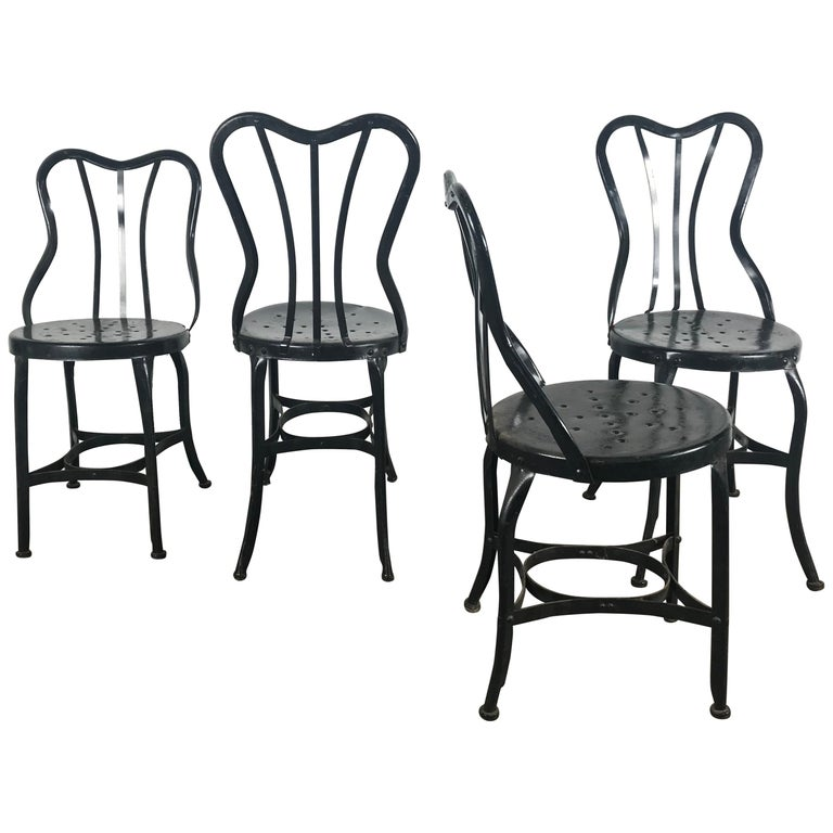 set of 4 classic industrial metal side chairs by ohio steel for sale at 1stdibs