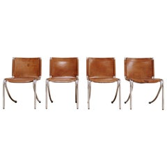 "Set of 4 Cognac Leather and Steel Giotto Stoppino, ""Jot"" Chairs"