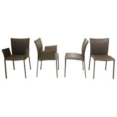 Set of 4 Contemporary Armchair and Armless Beige Brown Leather Dining Chairs