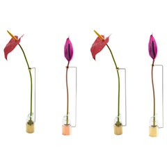 Set of 4 Contemporary Minimalist Small Brass and Glass Solitary Vase