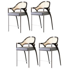 Set of 4 Contemporary Polished Chrome Rattan Counter Stools Hand Lacquered