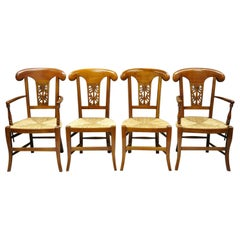 Set of 4 Country French Provincial Carved Cherrywood Rush Seat Dining Chairs