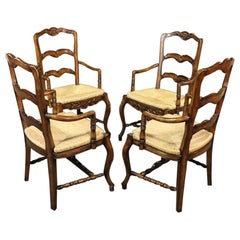 Set of 4 Country French Style Ladderback Armchairs