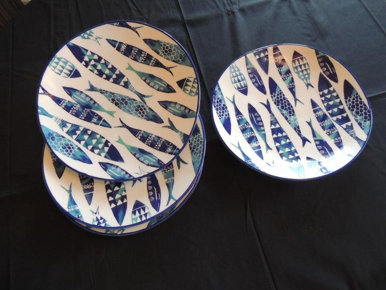 Bohemian Set of 4 Crackle Ceramic Dinner Fish Plates For Sale