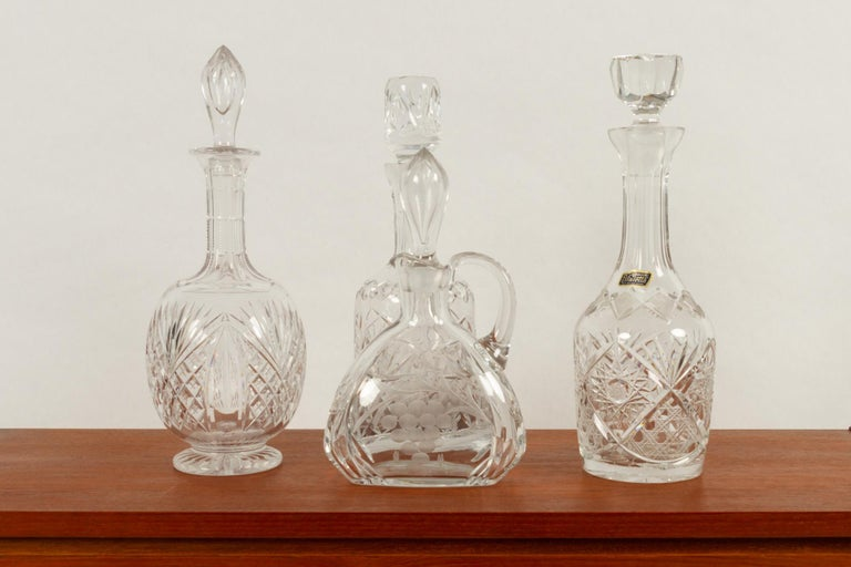 Bohemian Set of 4 Crystal Decanters, Mid-20th Century For Sale