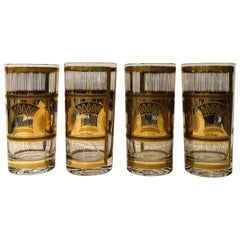 Set of 4 Culver Gold Gilt over Glass Wheat Sheath Theme Tall Cocktail Glasses