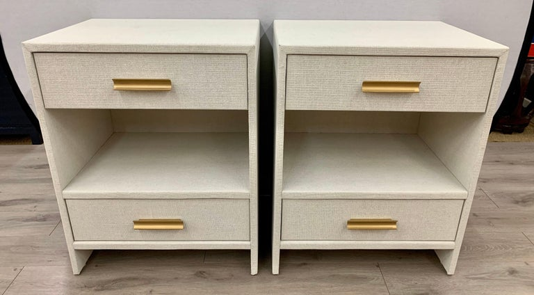 American Set of 4 Custom Linen Wrapped Two-Drawer Nightstands End Tables For Sale