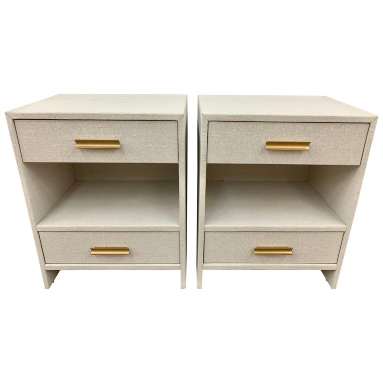 Set of 4 Custom Linen Wrapped Two-Drawer Nightstands End Tables For Sale