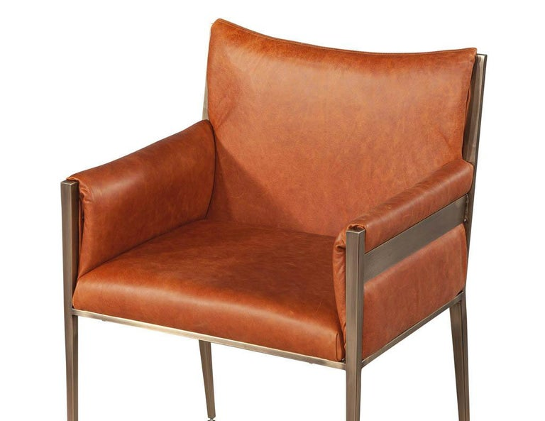 Set of 4 Custom Modern Leather Dining Chairs Cognac Leather For Sale 4