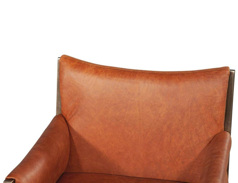 Set of 4 Custom Modern Leather Dining Chairs Cognac Leather For Sale 5