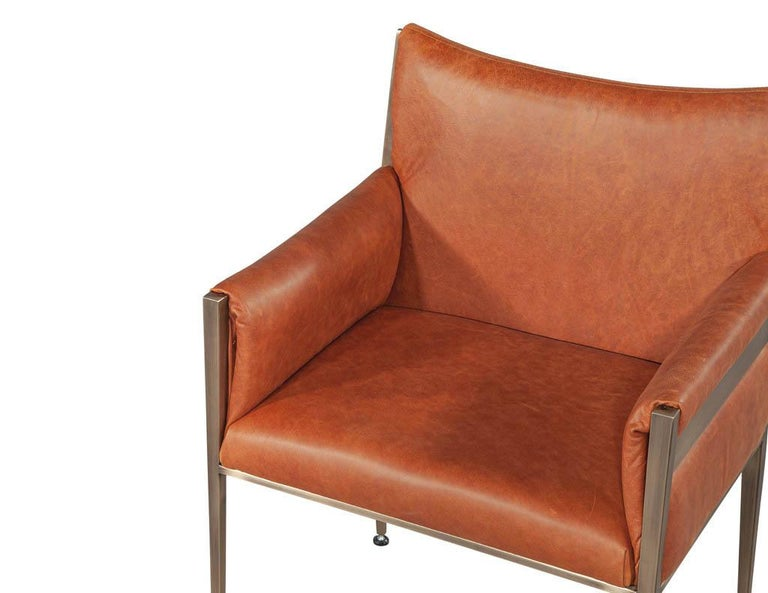 Set of 4 Custom Modern Leather Dining Chairs Cognac Leather For Sale 6