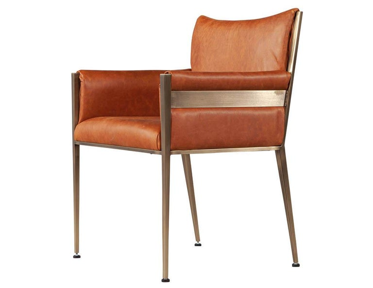 Set of 4 Custom Modern Leather Dining Chairs Cognac Leather For Sale 7
